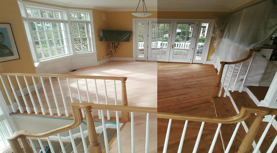 a room leading out to a deck