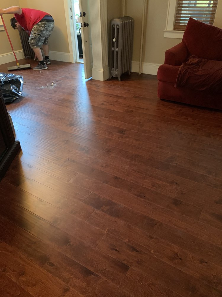 red color wood living room floor